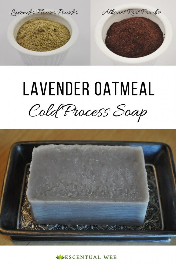 Lavender oatmeal cold process bar soap in a pewter colored soap dish