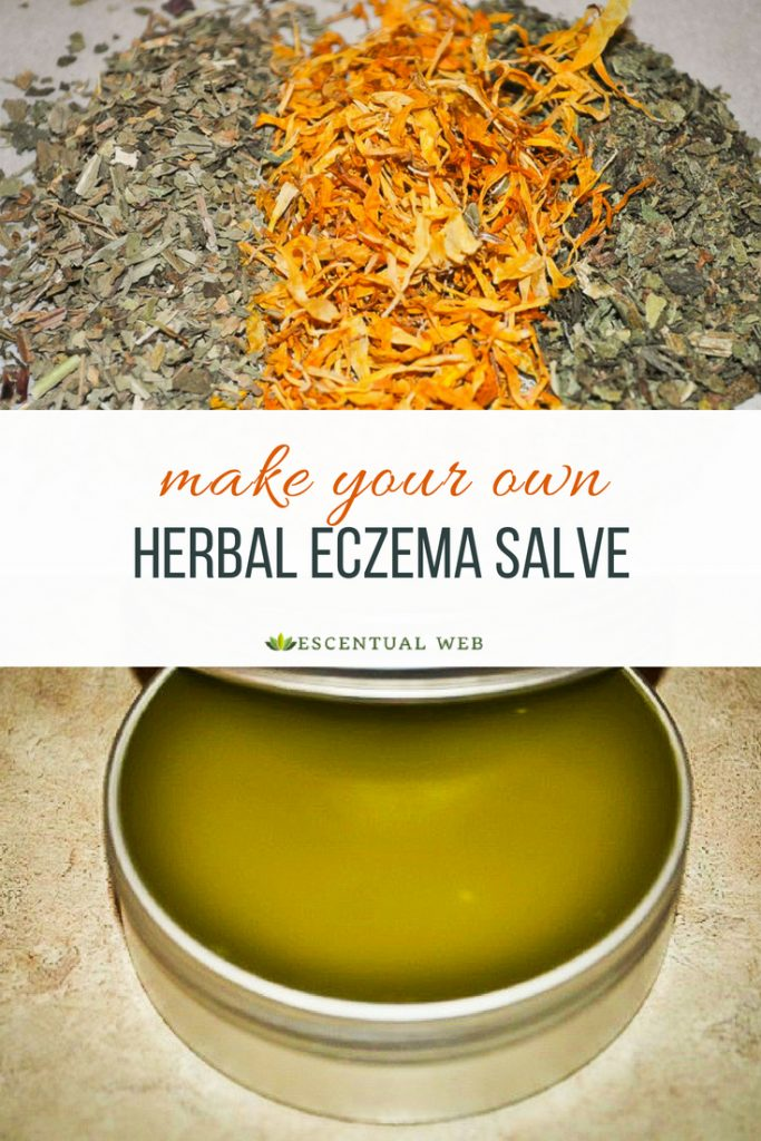 dried plantain, calendula and comfrey leaf and a green salve in a tin; text overlay is make your own herbal eczema salve