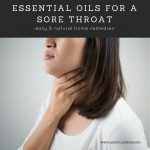 essential oils for a sore throat woman holding throat