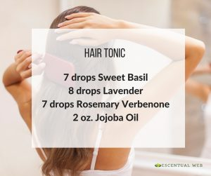 Hair tonic with basil, lavender, rosemary and jojoba