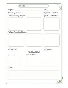 Example page of journal pages in Aromatherapy Blending Guide and Journal
