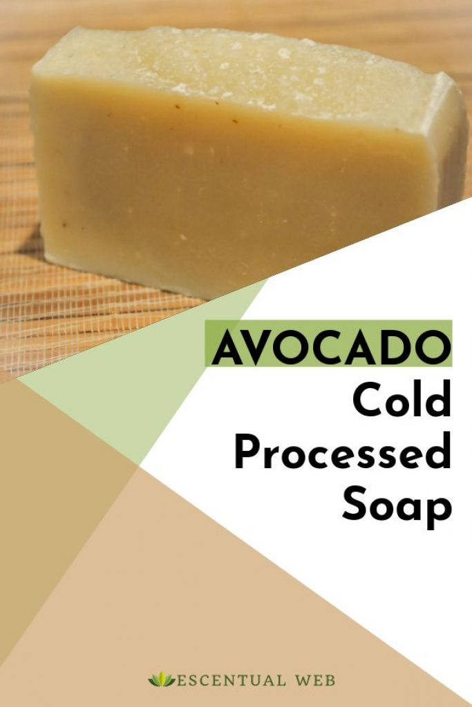bar of handmade soap with text avocado cold processed soap