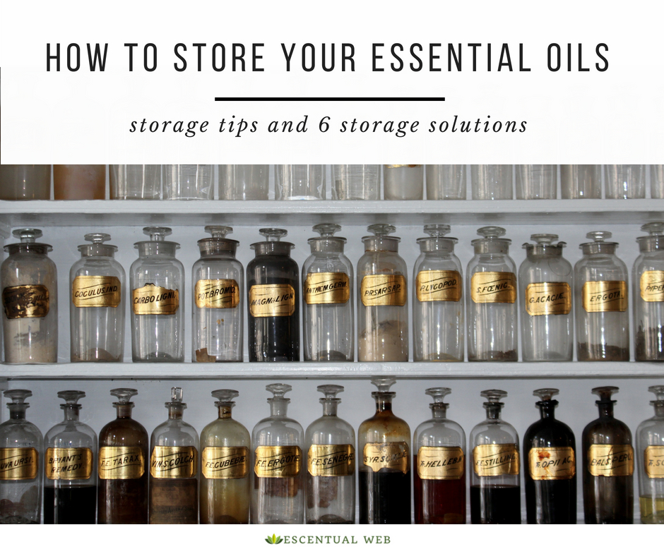 Vintage apothecary bottles on shelves with text how to store your essential oils, storage tips and 6 storage solutions