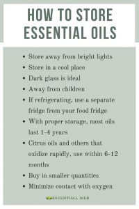 List of tips for essential oil storage