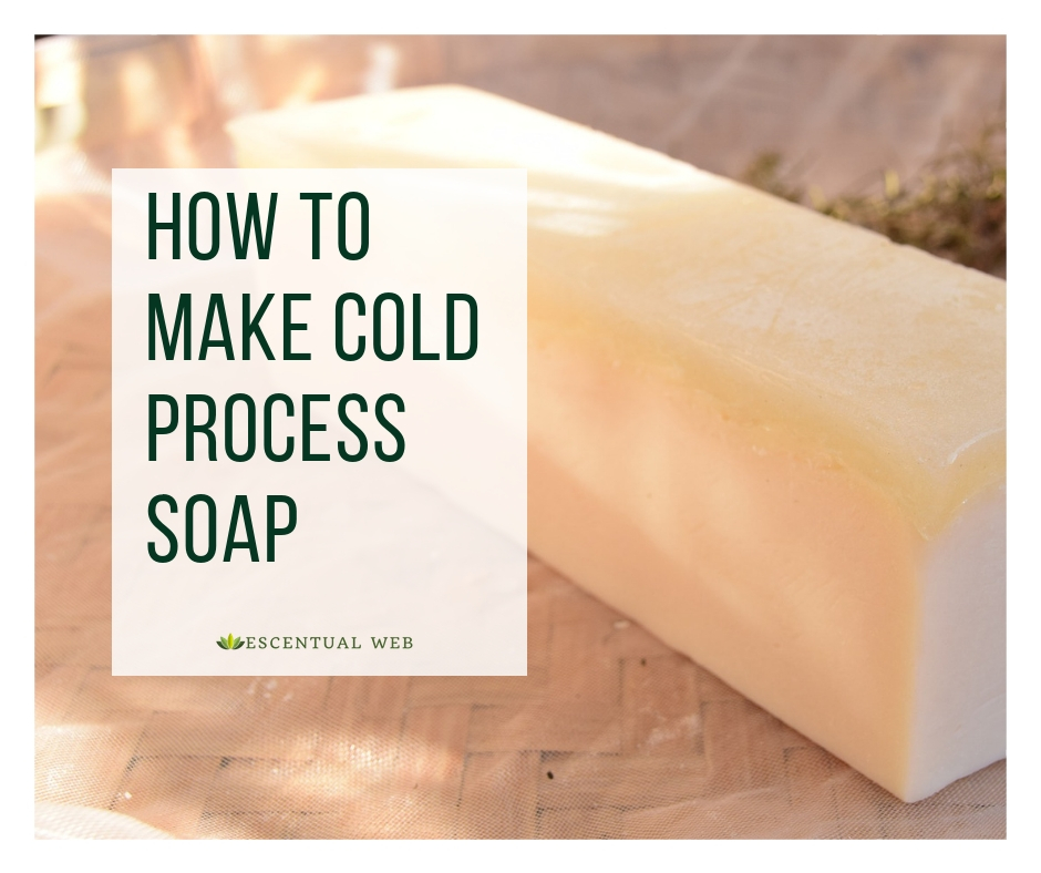 A loaf of handmade soap on a wooden bench with text overlay how to make cold process soap